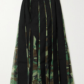 JUNYA WATANABE COMME des GARCONS - Paneled wool-twill and camouflage-print tulle midi wrap skirt