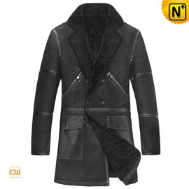 CWMALLS - Black Sheepskin Coat for Men CW877010