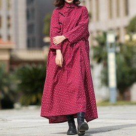 Women Maxi dress, Cotton jujube red dress, Maternity Clothing, Tunic dress