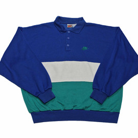 Nike - Vintage 90s Nike Blue/White/Teal Collared Sweatshirt Mens Size Large