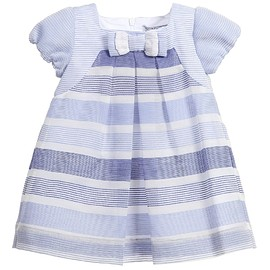 MAYORAL - Baby Girls Blue & White Stripe Organza Dress