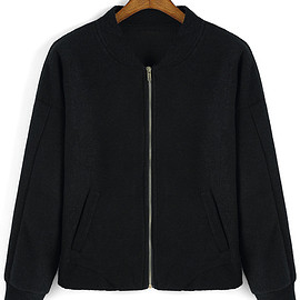 Romwe - Stand Collar Zipper Black Jacket
