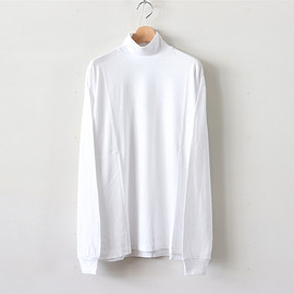 AURALEE|MEN - SEAMLESS HI NECK L/S TEE #WHITE [A8AT03ST]