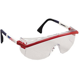 Uvex - Uvex Astrospec 3000 Safety Glasses, Red/White/Blue Frame, Clear Lens