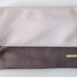 yucchino - BICOLOR BIG CLUTCH pink-gold X blackberry