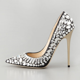JIMMY CHOO, SWAROVSKI - Tia Black Nappa and Crystal Pointy Toe Pumps