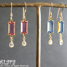 Ostara - 【14KGF】Earrings,16KGP Tiny Teardrop, Rectangle Vintage Glass
