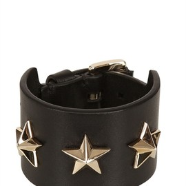 GIVENCHY - TRIPLE STARS LEATHER CUFF BRACELET