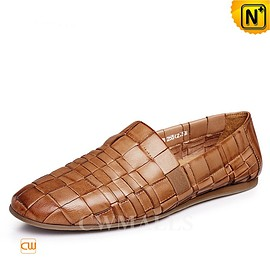 CWMALLS - CWMALLS® Mens Tan Leather Woven Loafers CW716408