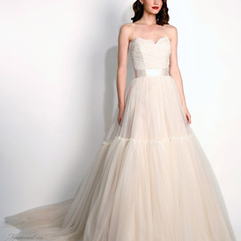 Modern Transseau - Layla strapless blush wedding dress train