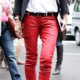 Red leather pants/style