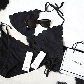 CHANEL - Scalloped Black Bikini