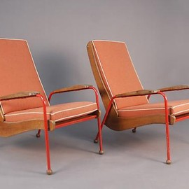 "Jean Prouvé - Pair of Red ""Visitor"" Chairs"