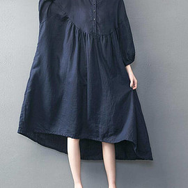 blue oversized loose long dress large size dresses