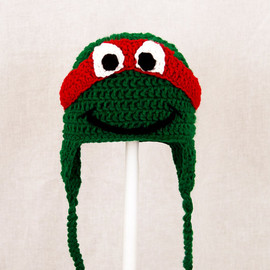 Teenage Mutant Ninja Turtles Earflap Hat, Green Crochet Beanie, RTS Ready To Ship Size Large for Adult