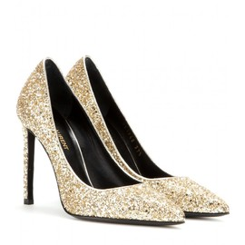 SAINT LAURENT - FW2014 105MM PARIS GLITTERED LEATHER PUMPS
