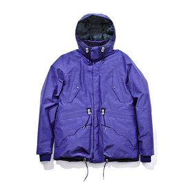 WHITE MOUNTAINEERING - PERTEX CHAMBRAY MIDDLE DOWN JACKET / NAVY