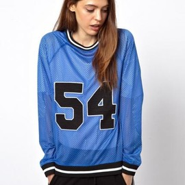asos - ASOS Sweatshirt with 54 Print in Open Mesh
