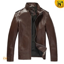 CWMALLS - Slim Fit Brown Leather Jacket CW809508 - cwmalls.com