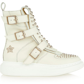 Alexander McQueen - Studded leather exaggerated-sole high-top sneakers