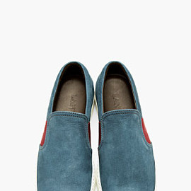 LANVIN - Steel Blue Nubuck Slip-On Shoes