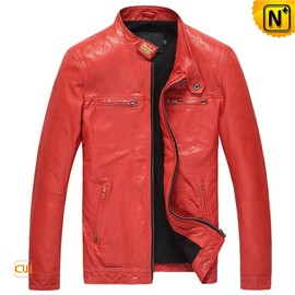 cwmalls - Fitted Lambskin Leather Motorcycle Jacket for Men CW850126