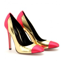 GIAMBATTISTA VALLI - SILK CAP TOE METALLIC LEATHER PUMPS