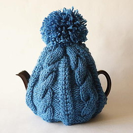 british grandma's hand knitted tea cosy denim blue/england 2-6cups [new]