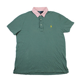 POLO RALPH LAUREN - Vintage Polo by Ralph Lauren Custom Fit Polo Shirt in Green/Pink Mens Size Large