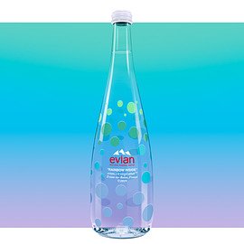 "evian, Virgil Abloh - 2019 LIMITED EDITION 750ml GLASS BOTTLE ""RAINBOW INSIDE"""