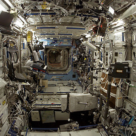 Cluttered workspace in the ISS. Image courtesy of NASA.