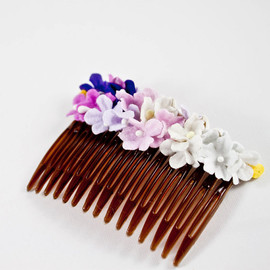 Vintage Pink and Purple Bridal Millinery Comb