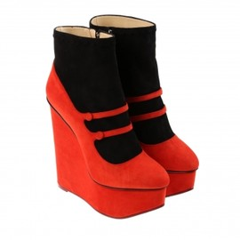 Charlotte Olympia - シャーロット オリンピア(Charlotte Olympia)スエード ウェッジブーツ Black and red suede Gretel boots 1