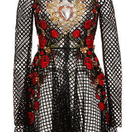 DOLCE&GABBANA - SS2015 Netted Lace Rose Embroidered Long Sleeve Dress