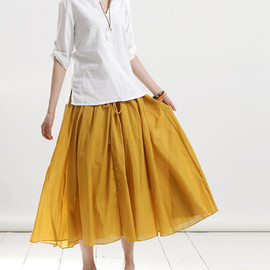 maxi skirt - meet by chance/ Linen elastic waist maxi skirt