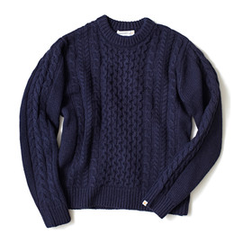 HEAD PORTER PLUS - FISHERMANS KNIT NAVY