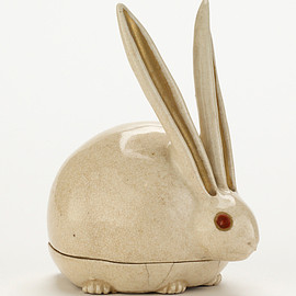 Kyoto ware incense box in shape of crouching rabbit.