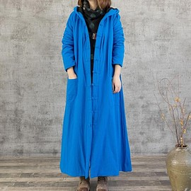 Hooded robe - Women's Dresses, Hooded robe, plus velvet dress, winter Tunic Dress