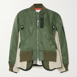sacai - Padded shell, shearling and cotton-blend jersey bomber jacket