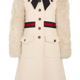 GUCCI - FW2016 Faux shearling-paneled cotton-blend tweed coat