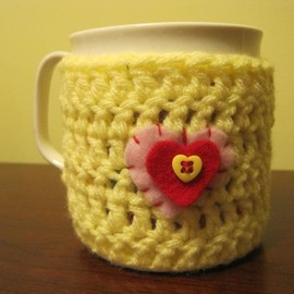 Luulla - Cup cozy, mug cozy, crocheted - light yellow (MC2)