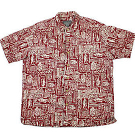 Eddie Bauer - Vintage 1990 90s Eddie Bauer Linen Hawaiian Luau Shirt in Red Mens Size Large
