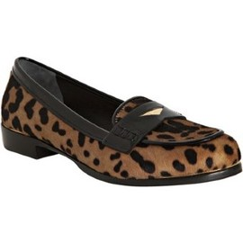 miu miu - style #315687101 tan and black leopard print pony hair loafers