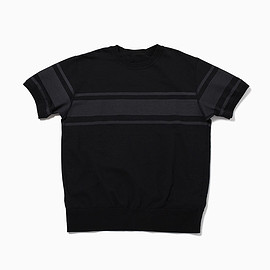 the POOL aoyama - THICK BORDER HALF SLEEVE SWEAT