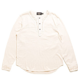 RRL - Embroidered Cotton Henley-Natural