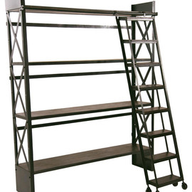 CRASH Industrial Supply - Carlyle Library Bookshelf with Rolling Ladder industrial storage and organization