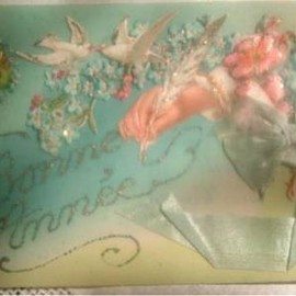antique - silk ribon celluloid chromos card