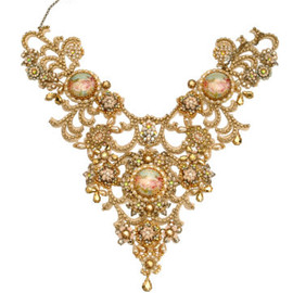 Michal Negrin - Cream Crystals Collar Rose Print Necklace