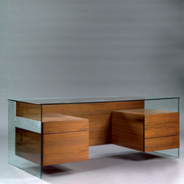 Antoine Philipon & Jacqueline Lecoq - Rare Desk, Glass & Wooden Drawers, ca.1960