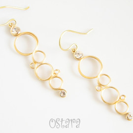 Ostara - Hammered Gold Wire Curvy Earrings